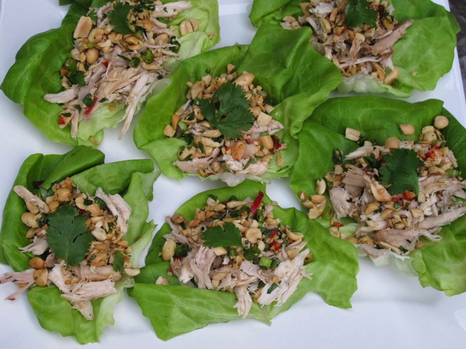 Peanut Scallion Chicken Lettuce Wraps