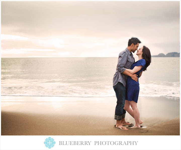 Bay area romantic natural lighting engagement photography baker beach