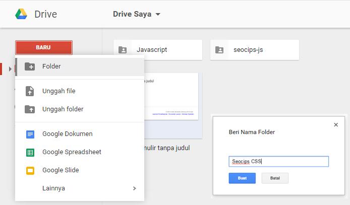Langkah kedua untuk upload atau unggah file