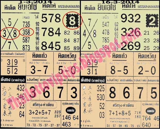Thai Lotto 16-3-2014 Special Non Miss Touch Tip Paper