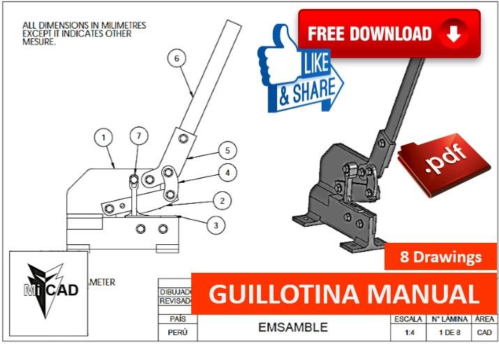 Mi cad planos guillotina manual for Guillotina oficina