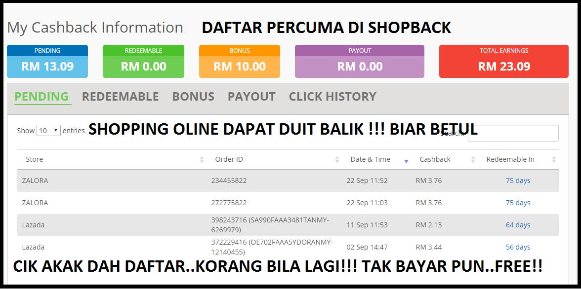 Shopping Online Dapat Balik Duit - Pendaftaran PERCUMA ShopBack