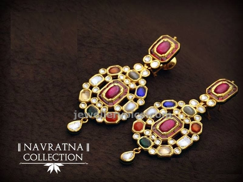 jadau earrings navaratna stones collection