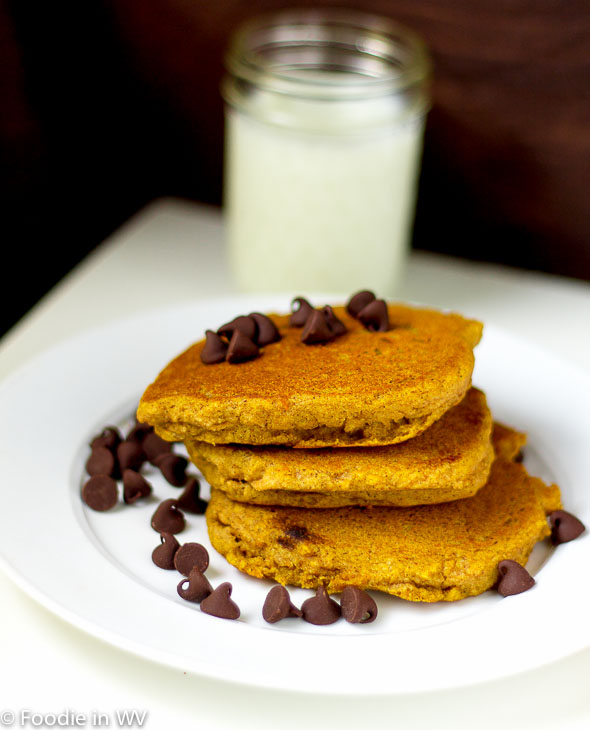 Click for Recipe for Gluten Free Chocolate Chip Pumpkin Pancakes