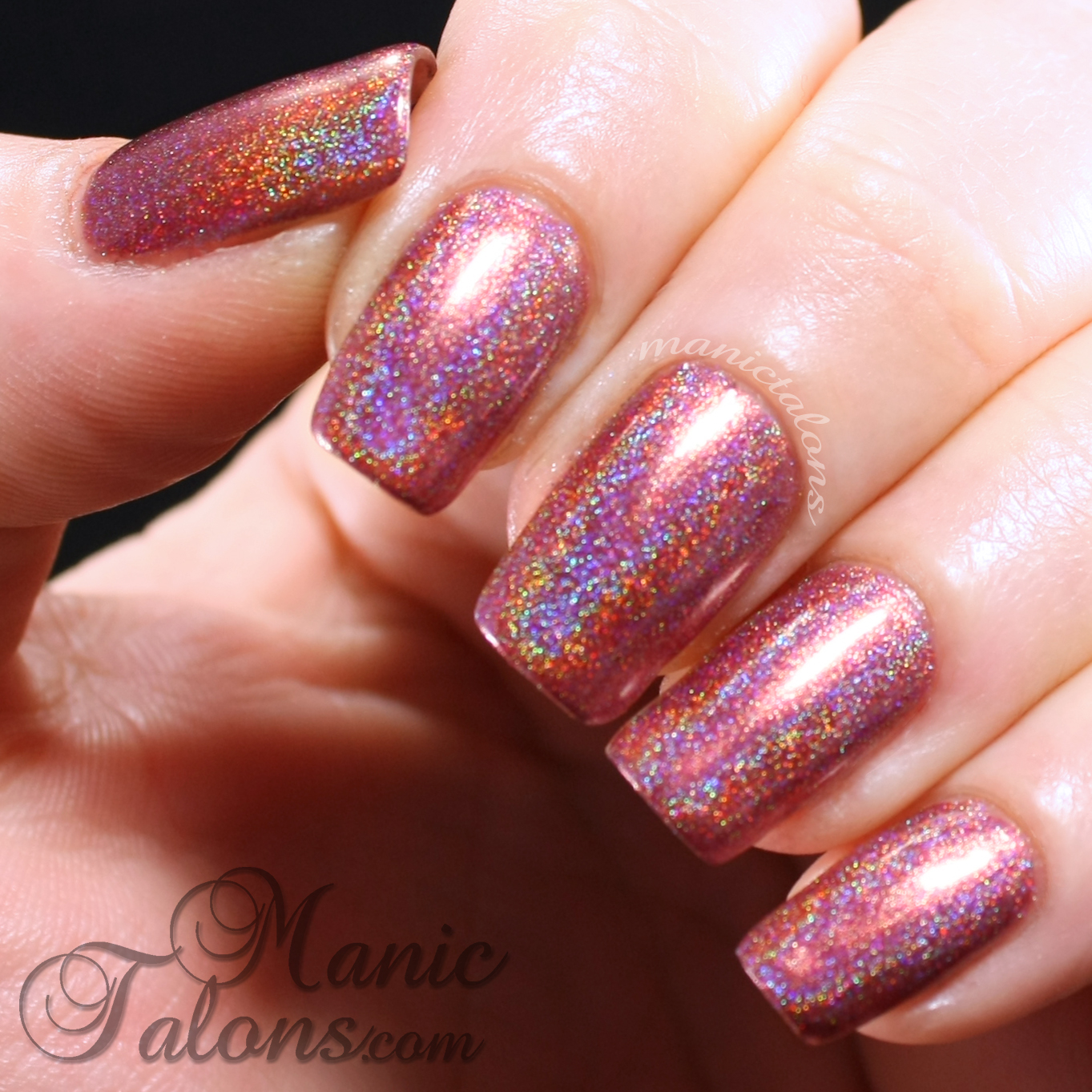 Girly Bits Auld Langs Wyne Swatch between gel polish layers