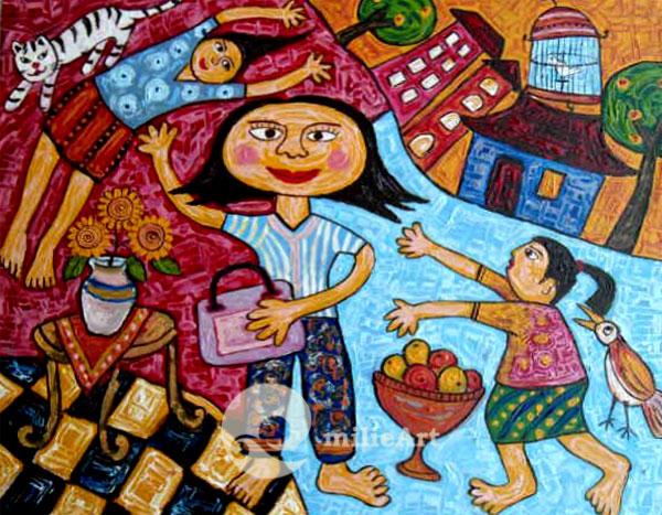 lukisan naive ibu dan anak anak