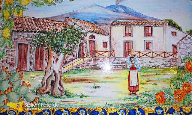 Handbemalte sizilianische Keramik