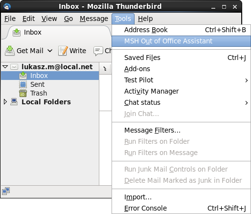MSH Out of Office Assistant in Mozilla Thunderbird photo
