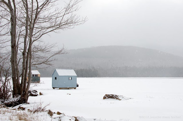Bar Harbor, Maine, Acadia National Park, shack, house, snow