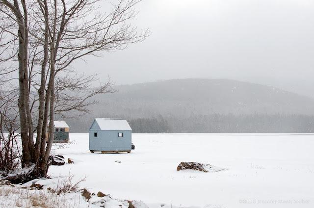 Bar Harbor, Maine, Acadia National Park, shack, house, snow