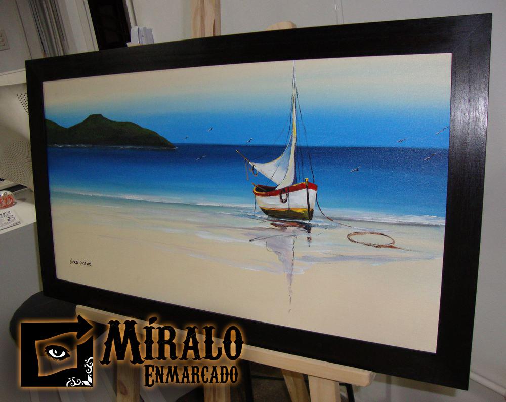 Montado de lienzo en bastidor y enmarcado marco chato for Marcos para lienzos