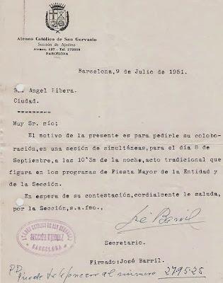 Carta del Ateneo de San Gervasio a Ángel Ribera, 1951
