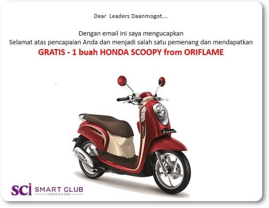 Motor Honda Scoopy GRATIS dari oriflame