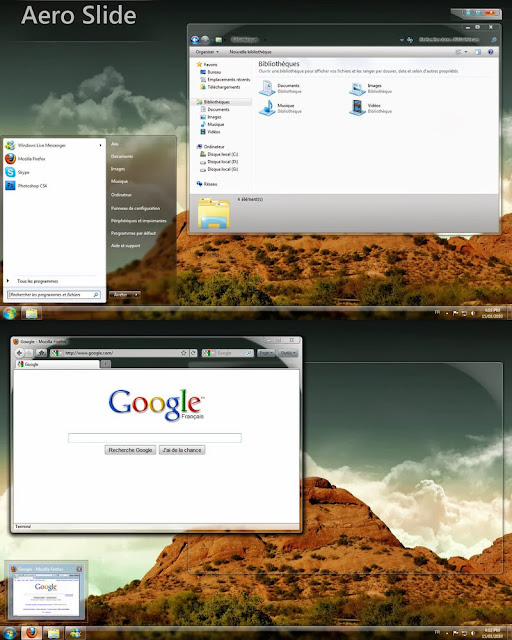 The Changes : Transparent Extended Start Menu Unique Caption Button Modified Commande Module & Previewpane Image Changed Taskbar & Show Desktop Button Changed Preview In The Taskbar Removed UserPicture From StartMenu Glassed Adress and Search Bar Download Themes Visual Style Windows 7 Aero Slide