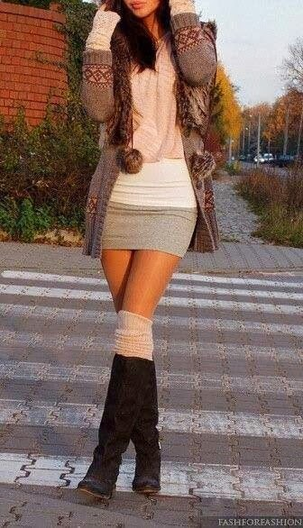 Gorgeous Long Sweater with Mini Skirt and Long Boots for Ladies