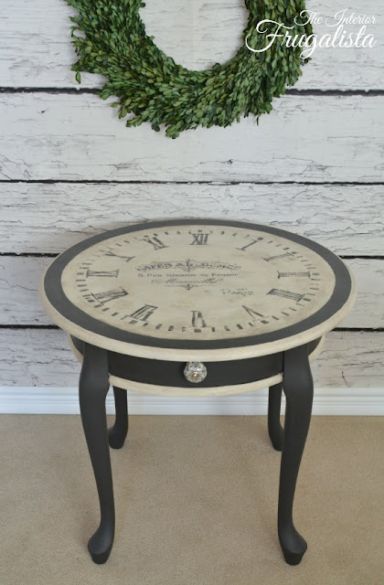 Vintage Clock Face with French Typography table makeover