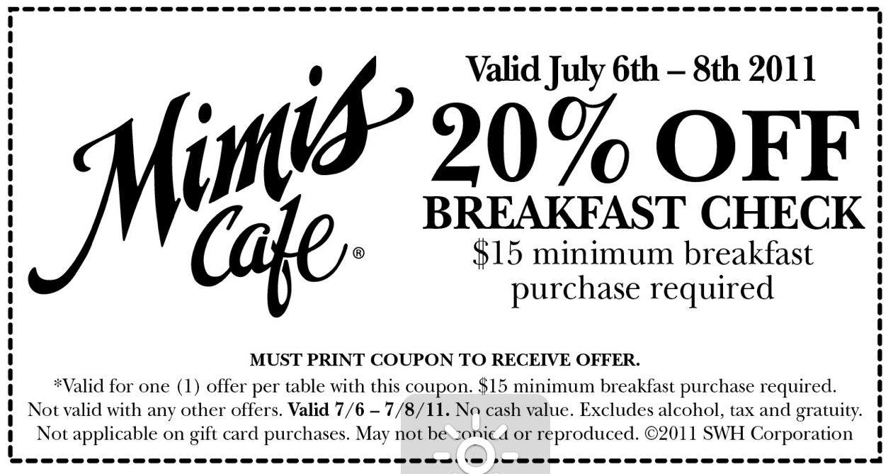 photo relating to Mimi's Coupons Printable named Exciting Affordable or No cost Discount coupons Discounts: Mimis restaurant coupon, 20