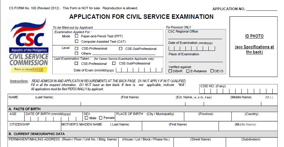 Civil Service Exam Application Form  WowcircleTk