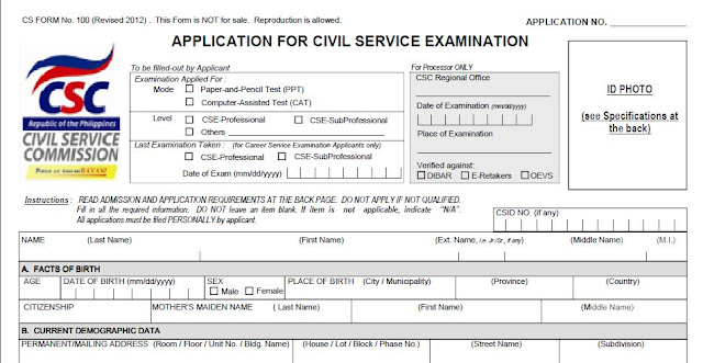 Application form for Civil Service Examination (revised 2012 ...