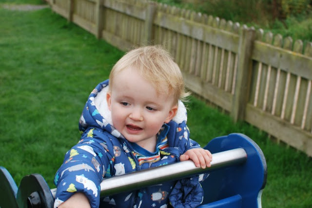 Baby on play equipment