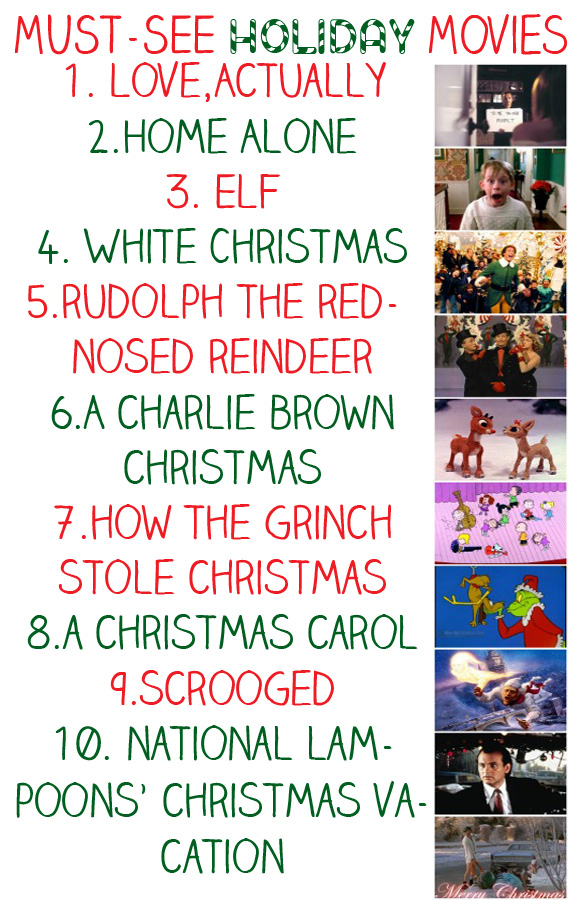 a list of some of my favorite holiday movies below tonight i watched elf and for a bonus round i watched the holiday such great flicks - List Of Christmas Films