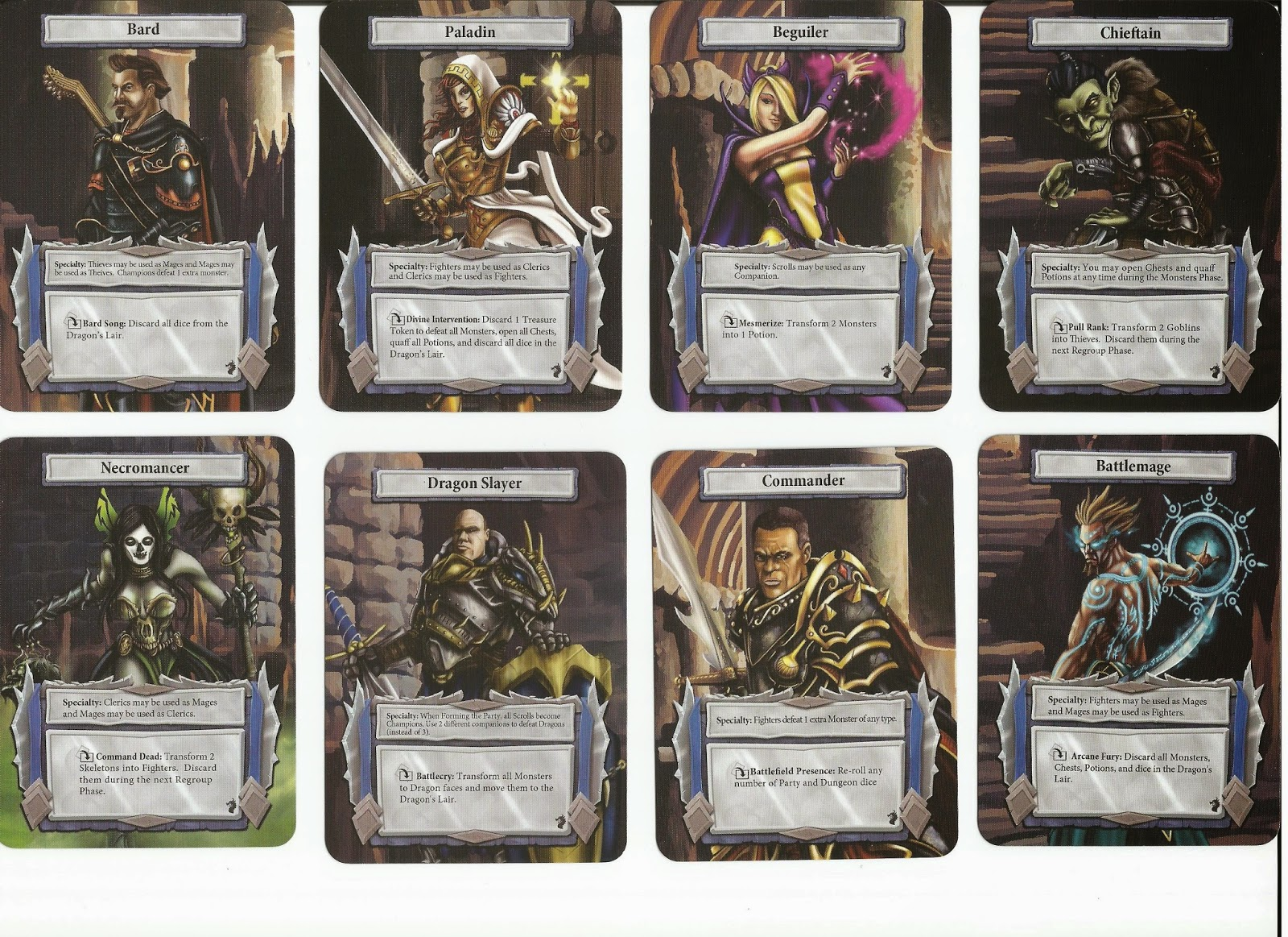 Dungeon Roll Hero Cards Backs