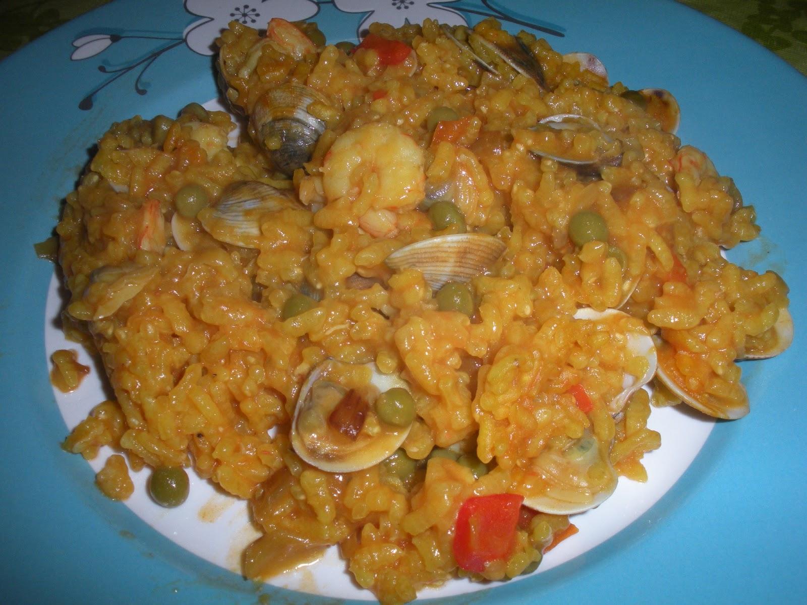 Entre ollas y sartenes arroz marinero con gambas y almejas - Arroz con gambas y almejas ...