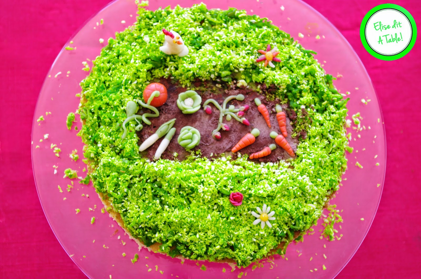 Gâteau pate à scure thème jardin
