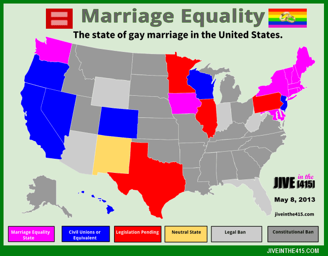 Data map of the United States reflecting the state of gay marriage 5/8/2013. by jiveinthe415.com