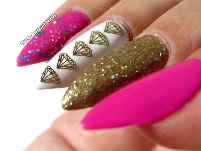 hot pink nails with diamonds-#11