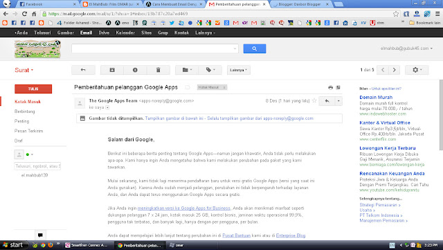 Google Apps - Email domain sendiri