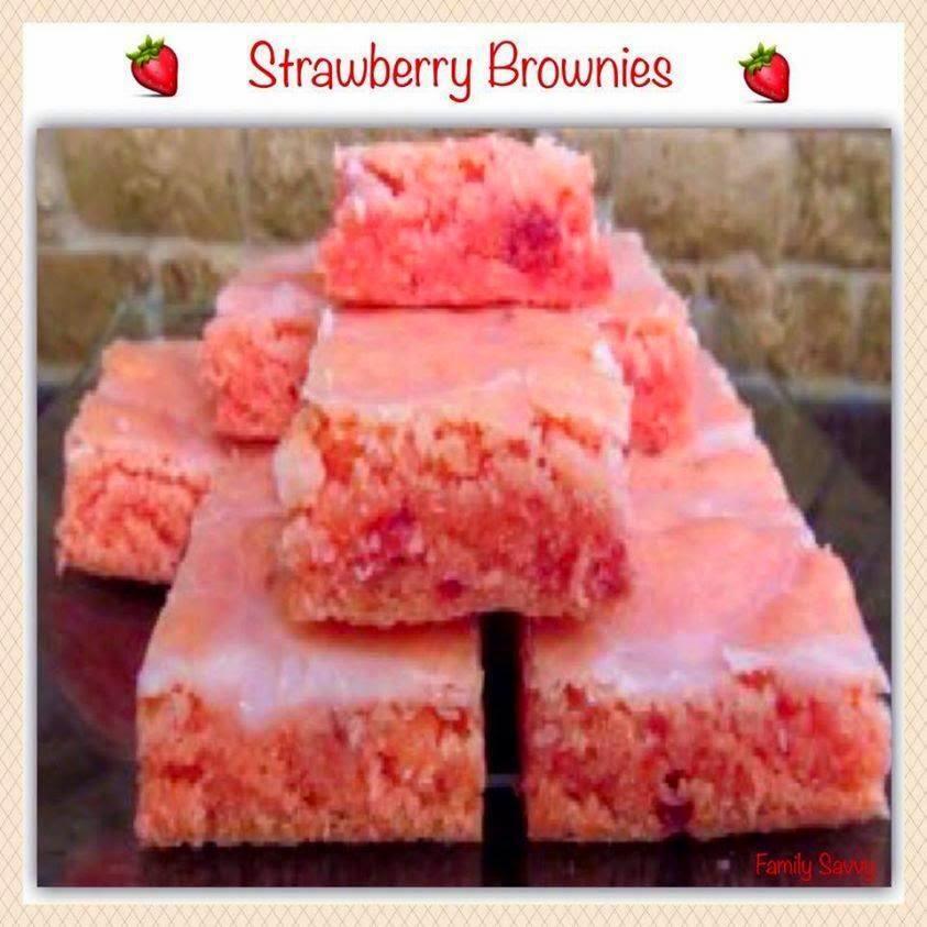 Strawberry Brownies Using Cake Mix