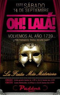 Fiesta de mascaras en oh lala 14 de septiembre
