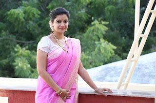 Colors Swathi in lovely Pink Saree with White Blouse