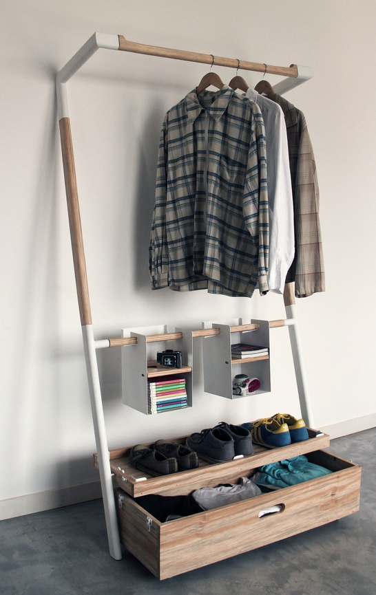 This apartment is too small so much better than a single - Clothing storage solutions for small spaces model ...