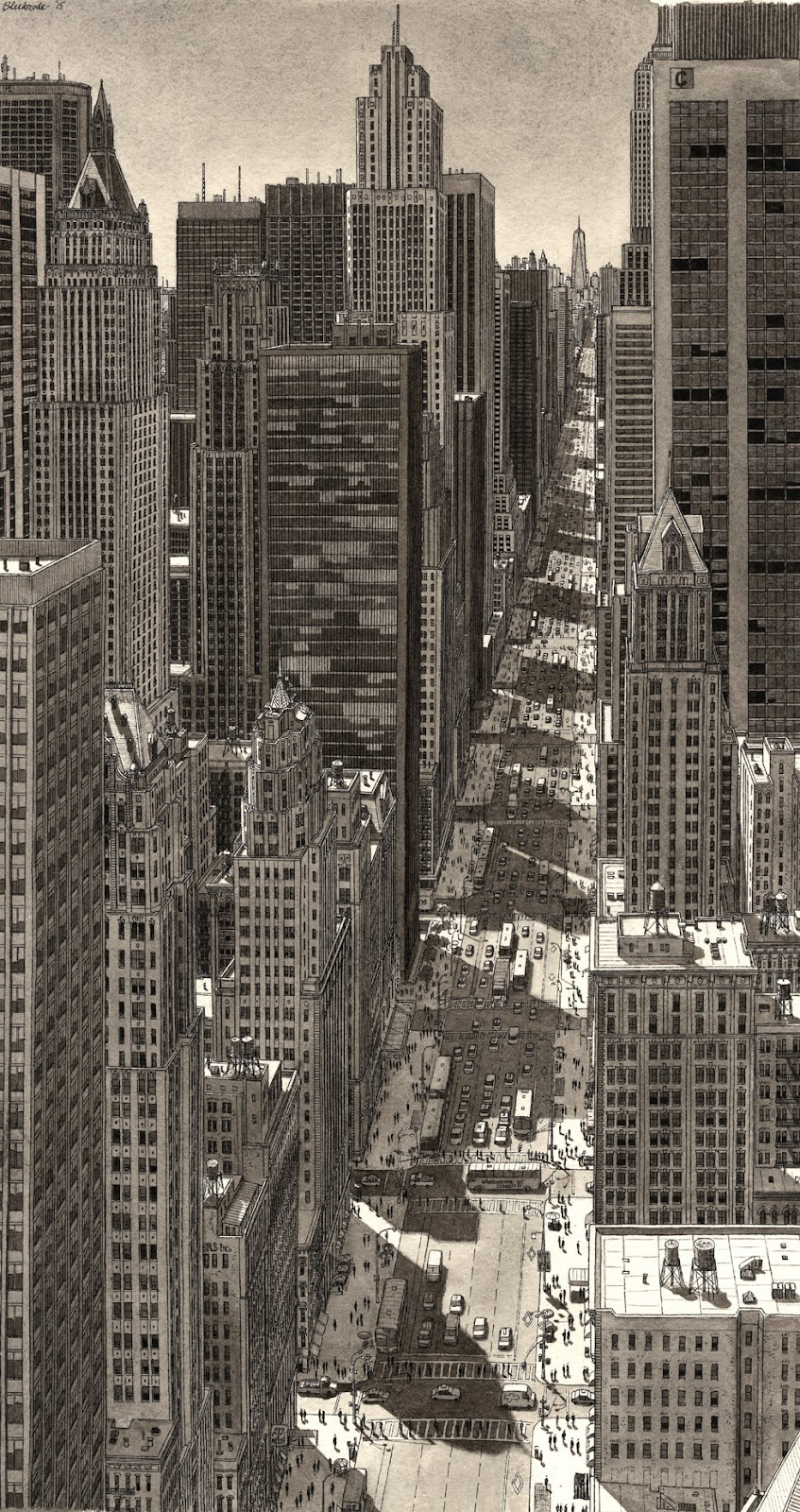 05-NYC-Summer-Shadows-Stefan-Bleekrode-Detailed-Architectural-Drawing-from-the-Imagination-www-designstack-co
