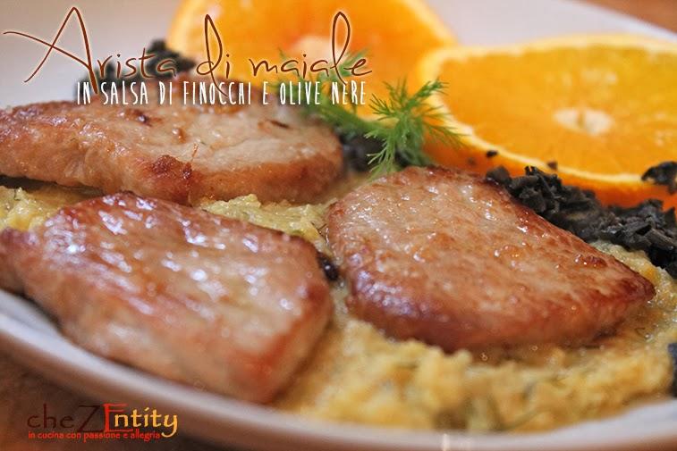 arista di maiale in salsa di finocchi e olive nere, e arance... solidali con l'airc