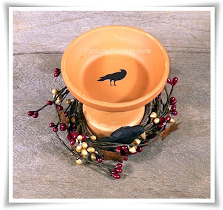 Primitive Crow Bird Bath Decor