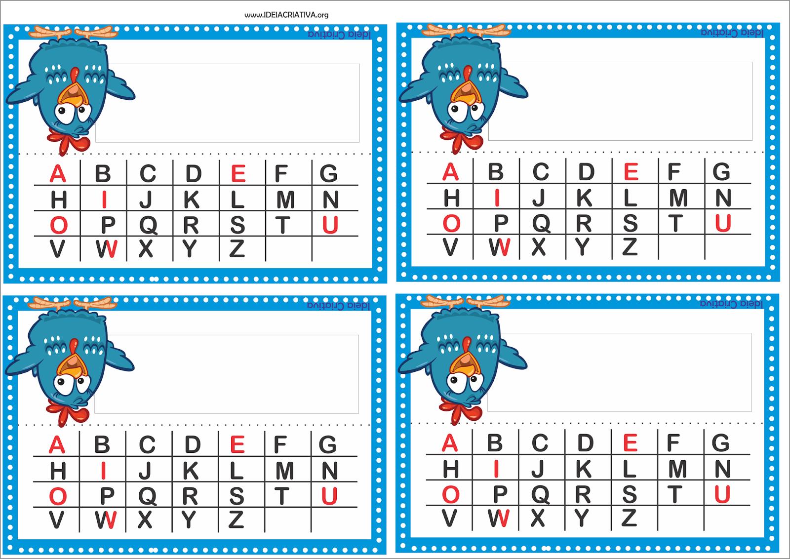 Crachá de Mesa para imprimir Galinha Pintadinha com Alfabeto Bastão