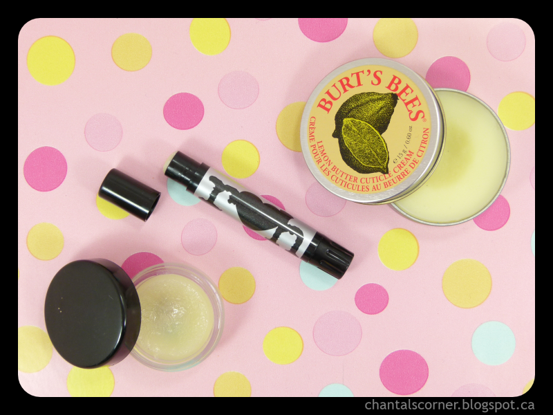Chantal's Corner's cuticle care essentials - Burt's Bees, Qtica and Rainbow Honey
