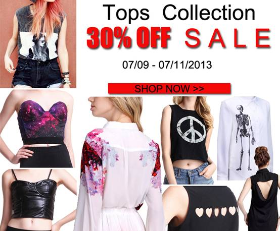 Tops Collection 30% off sale at Romwe.com