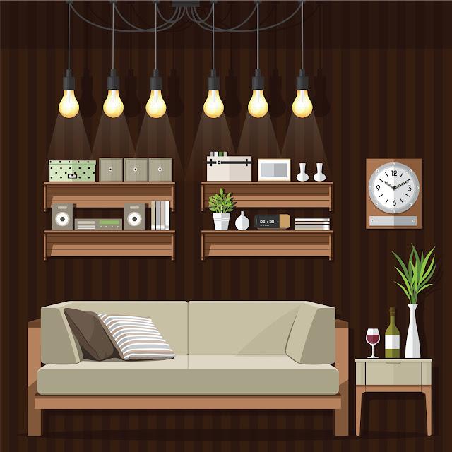 ilustração sala de estar estilo natural com móveis de madeira e muito conforto