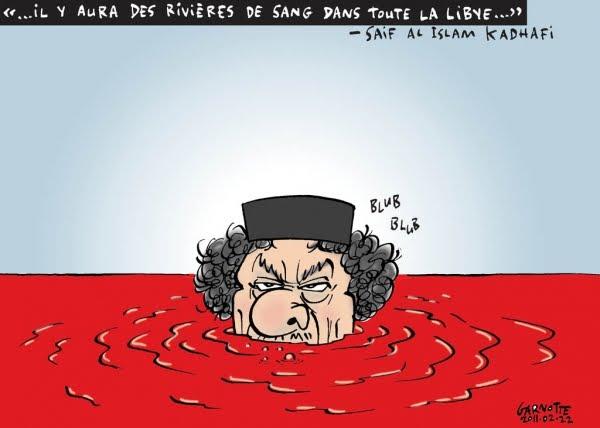 Kadhafi promet le sang et les larmes aux Libyens - Page 3 Kadhafi%2Bcaricature