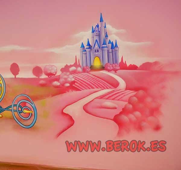 Mural infantil castillo de princesas Disney