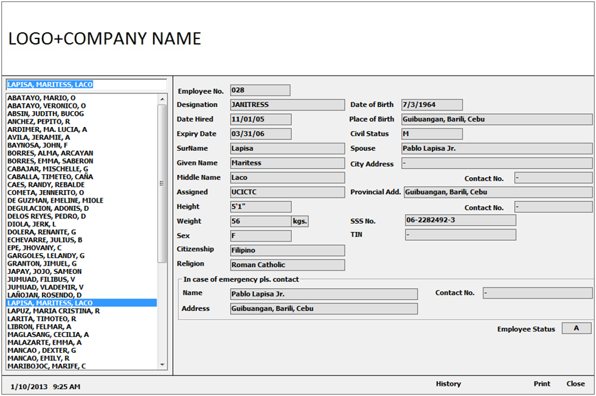 MANPOWER SERVICES INFORMATION SYSTEM: EMPLOYEE INQUIRY FORMS