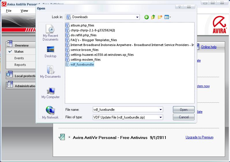Antivir Avira: Virus Definition File manual update
