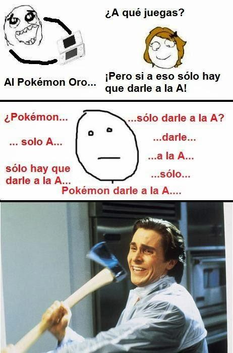 imagen graciosa - jugar a pokemon es solo darle a la A