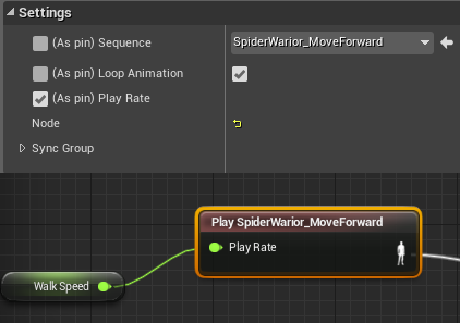 Shooter game tutorial june 2014 go to animation blueprint and create float variable walkspeed open anim graph and find spiderwariormoveforward sequence when you click on it properties malvernweather Images