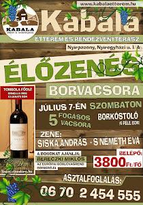 Élőzenés borvacsora Kabaláson...