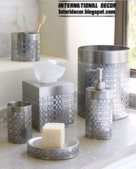 Stylish bathroom accessories sets colors pieces for Bathroom accessory sets